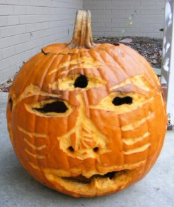 The world\'s ugliest pumpkin, carved by Matt Rouge